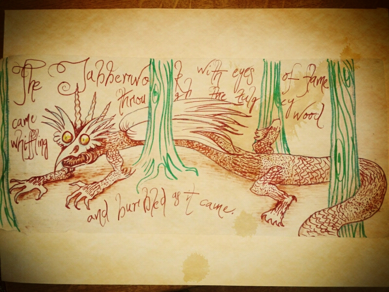 "Scribble no. 10 : 21/2/13     ""Sat down with the kids and we all drew the Jabberwocky"""