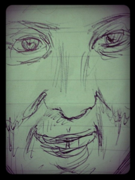 Scribble no. 18 : 2/3/13 Last minute, in the pub again, barman lent paper and pen. Tom is laughing and I am bedrunkened. — with Tom Keane.