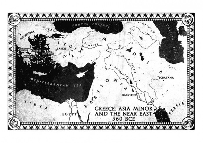 Map of Greece, Asia Minor and the Near East, 560 BCE