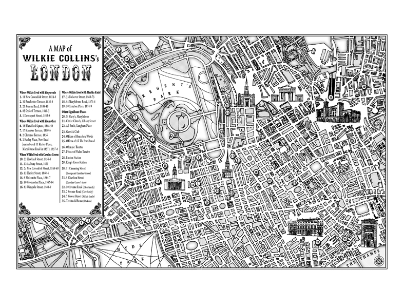 Wilkie Collins: A Life of Sensation by Andrew Lycett. Work undertaken: Map of 'Wilkie's London'.