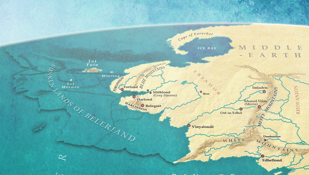 The Empire of Numenor Under Ar-Pharazôn and the Drowned Lands of Beleriand (close up)